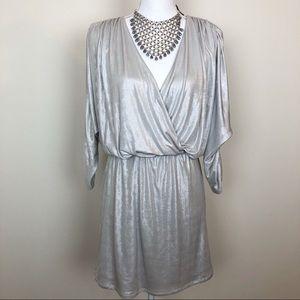 Parker silver metallic crossbody dress